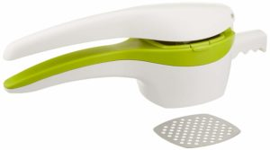 RSVP Potato Ricer and Baby Food Strainer, White and Green with Interchangeable Disks (SPUD)